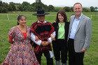 New Zealand Prime Minister John Key and wife Bronagh Key with Chilean dancers at the Soprole farm owned by Fonterra in Chile. Photo / Supplied
