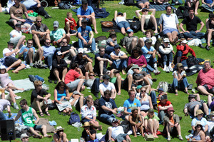 Spectators at the  Basin Reserve. Photo / Ross Setford