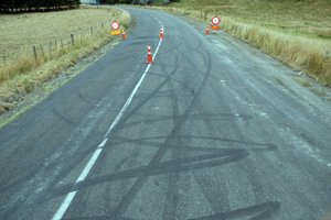 Tyre marks lace the road surface. Photo / Supplied