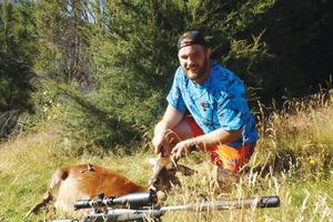 Owen Franks wears Stoney Creek's Blaze Blue shirt while hunting. Photo / Supplied