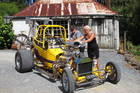 Murray Hosking of Kerikeri gives his 1923 T-Bucket a last polish ahead of Saturday's show with help from Kurbside Rodders secretary Roz Adams. Photo / Peter De Graaf