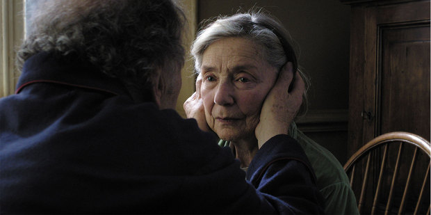 Loading Emanuelle Riva in a scene from Amour. Photo/supplied