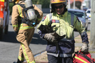Firefighter Ross Hoare appeared with a black cat rescued from the fire, with the pet then given oxygen.  Photo / Lynda Feringa