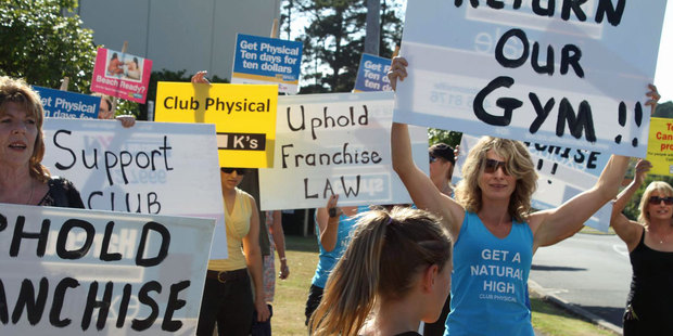 Club Physical gym members turned out two weeks ago to protest outside the Jolt Fitness branch in Westgate. Photo / Supplied