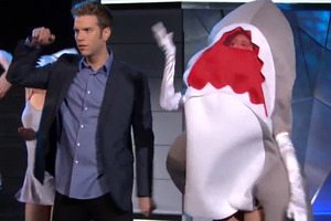 A scene from the 'shark party' held on Comedy Central's The Jeselnik Offensive. Photo / YouTube