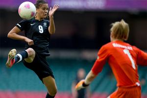 Amber Hearn scored New Zealand's only goal. Photo / Brett Phibbs