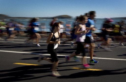 Ports of Auckland Round the Bays 2013. Over 40,000 people ran the event in hot weather.