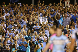 Sharks fans celebrate a try. Photo /Getty Images