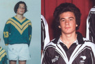 Sonny Bill Williams as a young Marist Saints league player (L) and in 2001 as a Junior Kiwis rep player.  Photos / Supplied