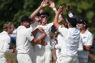 The Black Caps celebrate a wicket on the final day of the first test. Photo / Getty Images
