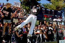 Black Sox baseman Nathan Nukunuku celebrates with the crowd. Photo / Brett Phibbs