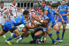 Thomas Leuluai of the Warriors crosses for a try only to have it disallowed. Photo / Getty Images