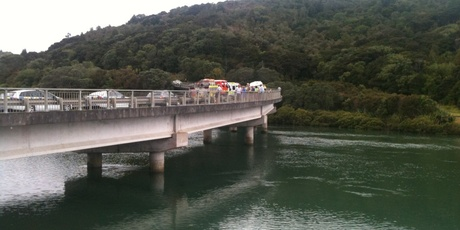 The scene at Waiwera River bridge. Photo / Adrienne Rhodes