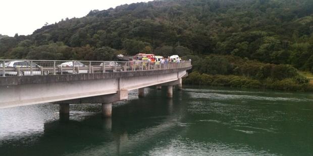 The scene at Waiwera River bridge. Photo / Adrienne Rhodes