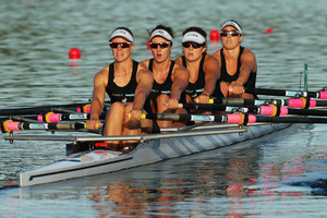 Sarah Gray, Georgia Perry, Genevieve Armstrong and Erin Shelton (R-L) of New Zealand. Photo / Getty Images
