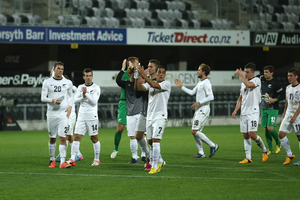 All Whites players applaud the crowd. Photo / Getty Images