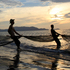 Fishermen pull in their net during sunset on a beach in Banda Aceh, Aceh province, Indonesia. Photo / AP