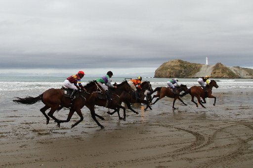 The field crosses the finish line in the third race at the Castlepoint Races held on Saturday at the Wairarapa beach resort.