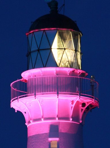 BRIGHT SPOT: The Castlepoint lighthouse was specially lit for the centennial weekend.