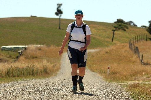Jessica Stanaway, 18, of Te Puke, walking the Great New Zraland Trek at Gladstone..