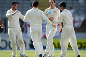 Trent Boult of New Zealand celebrates dismissing Alastair Cook of England during day two of the Third Test match between New Zealand and England. Photo / Getty Images.