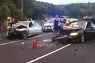 A head-on crash on Tamaki drive left both lanes blocked and debris thrown all over the road.