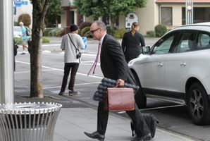 Hawk Packaging counsel Magnus Macfarlane arriving at Hastings District Court yesterday. Photo / Duncan Brown