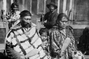 Tuhoe at the Mataatua Marae in 1905, with Te Whenuanui at front left. Photo / Alexander Turnbull Library