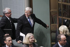 Kevin Rudd leaves House of Representatives question time. Photo / AP