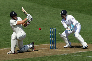 Peter Fulton bats while Matt Prior looks on. Photo / Getty Images