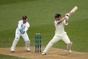 New Zealand captain Brendon McCullum made 38 before being caught by England wicketkeeper Matt Prior. Photo / Getty Images