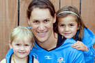 Southern Steel's Jodi Brown with daughters Kiana, right, and Aria at their home in Dunedin. Photo / Dianne Manson