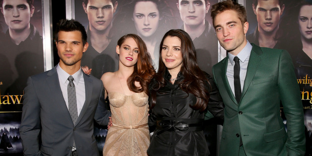 Author Stephenie Meyer (second from right) with members of the 'Twilight' cast. Photo / Getty Images