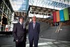 AUT vice-chancellor Derek McCormack (left) and architect Richard Harris in the building's atrium. Photo / Natalie Slade