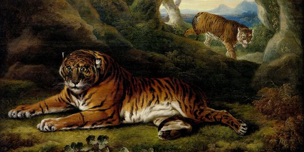 William Hodges, Two Tigers in a Rocky Landscape (c1773), oil on panel. Photo / Auckland Art Gallery Toi o Tamaki