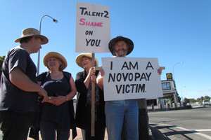 Novopay victim Colin Cowie protests the Novopay debacle. Photo / APN