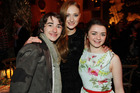 On-screen sisters, Sophie Turner and Maisie Williams with castmate Isaac Hempstead Wright. Photo / AP