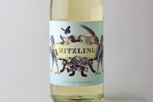 Ritzling mini-wine bottle featuring the banned slogan, 'bottled happiness'.Photo / Supplied