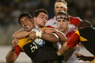 Super rugby Lelia Masaga's three tries overshadowed his knock-ons. Photo / Alan Gibson