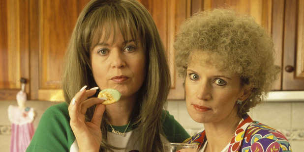 Gina Riley who plays Kim, left, on Kath & Kim has been diagnosed with breast cancer. Photo / Supplied