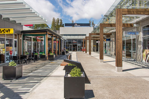 A street-level view of some of the 36 retail outlets within the Silverdale Centre, which is for sale. Photo / Supplied