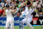 Kane Williamson hits a boundary and the England keeper is Matt Prior. Photo / APN