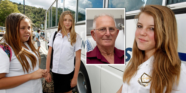 Sam Fife has praised the actions of students Puke Hau, Samantha Calver and Caitlyn Burrell after the steel pipe hit his school bus. Photos / Brett Phibbs, APN