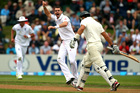 England's James Anderson celebrates his wicket of Ross Taylor of New Zealand during the first test match. Photo / Getty Images