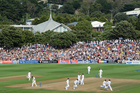 England celebrate a wicket during the test second at the Basin Reserve. Photo / Getty Images