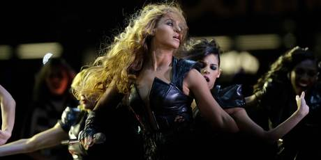 Beyonce performs at the Super Bowl. Photo/AP