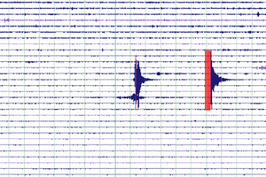The seismometer at Great Barrier Island shows yesterday's recordings of two quakes in Auckland. Photo / Geonet