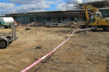 The construction site where contractors stumbled across the grisly find has been cordoned off. Photo / Katee Shanks 