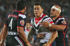Sonny Bill Williams eyes up Konrad Hurrell during Saturday's NRL clash at Eden Park. Photo / Getty Images
