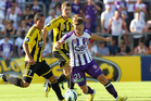 Scott Jamieson of the Perth Glory controls the ball during the round 25 A-League match between the Perth Glory and the Wellington Phoenix. Photo / Getty Images
